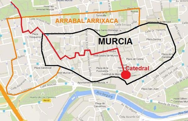 Mapa Muralla Murcia Los Reyes Católicos de visita por Murcia