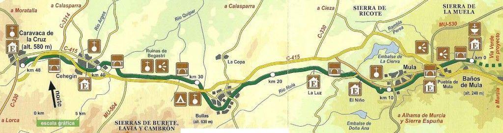 mapa via verde noroeste Murcia 1024x272 La Vía Verde del Noroeste y sus viaductos