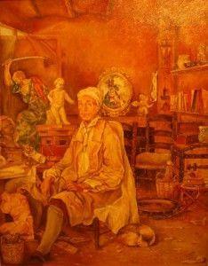 Salzillo en su taller cuadro de Luis Cerda 234x300 Salzillo, maestro de los niños pobres