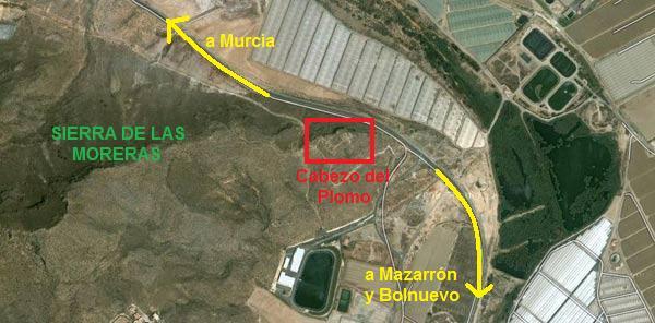 Mapa Cabezo del Plomo Mazarron Murcia Poblado neolítico en Cabezo del Plomo Mazarrón