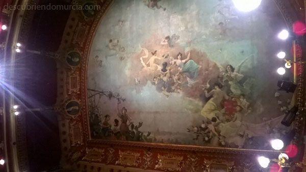 """Teatro Romea Murcia techo pinturas """"La ciudad también enseña, programas educativos para los chavales"""